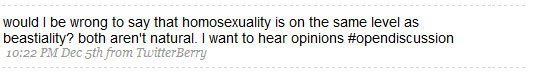 Homophobic Tweet