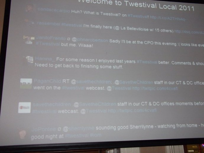 Twestival 2011 twitterfall